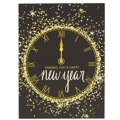 Count down to another fabulous year ahead with our gold and glitter-filled new year card! front greeting: wishing you a happy new year inside greeting: may it be filled with joy DETAILS - single card Happy New Year Photo, Happy New Years Eve, Happy New Year Quotes, Happy New Year Images, Happy New Year Cards, New Year Greeting Cards, Quotes About New Year, Happy New Year 2019, New Year Greetings