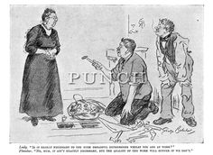 """1921 cartoon - Lady. """"Is it really necessary to use such dreadful expressions whilst you work?"""" Plumber. """"No, Mum, it ain't exactly necessary, but the quality will suffer if we don't"""". Punch magazine cartoon by George Belcher."""