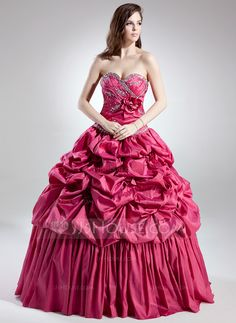 Ball-Gown Sweetheart Floor-Length Taffeta Quinceanera Dress With Ruffle Beading Flower(s) (021015702) - JJsHouse