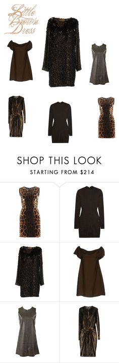 """Little Brown Dress"" by blueblazzr on Polyvore featuring Dolce&Gabbana, Balmain, Class Roberto Cavalli, Kitagi, Balenciaga, Blumarine, Christmas, party and fashionable"