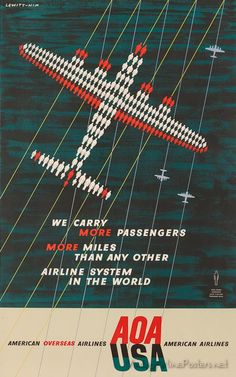 (( Vintage Ad for American Overseas Airlines / American Airlines - The plane is illustrated with passengers. ))