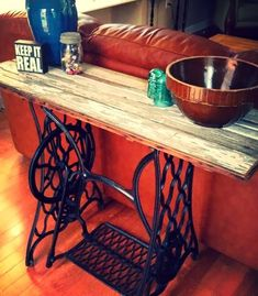 Need More Sewing Machine Bases! Cast Iron Sewing Machine Base Made In To A  Sofa Table