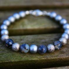 Handmade mens silver stardust gemstone Agate bracelet by Sitaras Collection