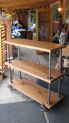 oak wood salvaged from an old barn with steel rods and caster wheels from an old grain scale - so cool!: Kitchen Storage Units, Kitchen Cart, The Unit, Desk, Furniture, Home Decor, Writing Table, Homemade Home Decor, Desktop