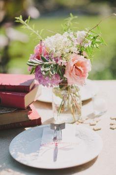 mason jar ,  book centerpiece ,  Anni Cee Photographie ,  Spring ,  Summer ,  Fall ,  Real Wedding