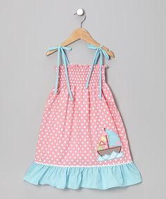 Take a look at this Stellybelly Pink Polka Dot Sailboat Sundress - Infant, Toddler & Girls on zulily today!
