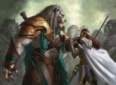 Ajani Goldmane and Elspeth:The Solidarity of Heroes... Magic: The Gathering card art