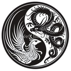 White and Black Dragon Phoenix Yin Yang by Jeff Bartels