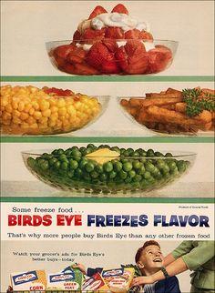 Birds Eye Ad, 1957. #vintage #food #ad #1950s