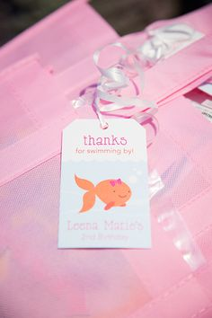 Printable favor tags from Chickabug Goldfish Party, Favor Tags, Party Themes, Nautical, Favors, Printable, Sea, Birthday, Pink