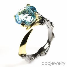 Handmade Fine Art Natural Blue Topaz 925 Sterling Silver Ring Freesize/R32565 #APBJewelry #Ring
