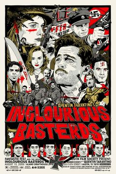 """Inglourious Basterds"" Directed by Quentin Tarantino. Starring Christoph Waltz, Brad Pitt, and Diane Kruger Inglourious Basterds, Movie Poster Art, Film Posters, Print Poster, Comic Poster, Poster Drawing, Graphic Posters, Gig Poster, Retro Posters"