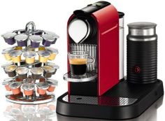 Nespresso C120 Citiz Fire Engine Red Automatic Espresso Machine with Aeroccino Milk Frother and FREE Capsule Carousel Bundle by Nespresso. $349.00. Attractive fire engine red exterior. Capsules automatically eject in a container. Programmable volume control. Aeroccino milk frother included for cappuccinos, lattes, and more. Folding cup support. Enjoy fine espressos with delicious flavor using Nespresso's Citiz automatic espresso machine. Designed for convenience a...