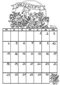 Kalendarz- wrzesień do kolorowania | Rysopisy