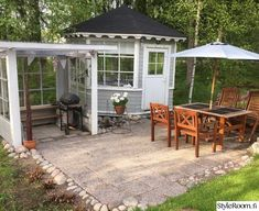 kesäkeittiö,patio,huvimaja Hygge, Shed, Cottage, Outdoor Structures, Patio, Outdoor Decor, Inspiration, Outdoors, Rooms