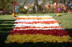 unique aisle runners. Photo by: Puo Photo ||  http://www.paulinaulloa.com/ || Seen on http://www.jetfeteblog.com/destination-weddings/brightly-colored-mexico-destination #colorful #petals #mexico #destination wedding