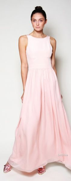 pretty in pink (I want this . and an event to which I can wear it - perhaps dancing around my livingroom? Maxi Gowns, Chiffon Skirt, Silk Chiffon, Silk Crepe, Pink Wedding Dresses, Evening Dresses For Weddings, Evening Gowns, Pink Fashion, Couture Fashion