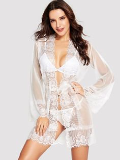 d397e946e1abb Shop Eyelash Lace Trim Robe With Thong online. SheIn offers Eyelash Lace  Trim Robe With Thong   more to fit your fashionable needs.