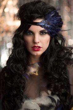 Blue Great Gatsby Headpiece Flapper Headband by AdorningBeautyCo