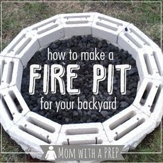 Mom with a PREP | Having a Fire Pit in your backyard not only adds some interest to your landscape, but it gives you another venue for cooking when there is a power outage. Here is how to build one...  #firepit #dutchoven #backyardcamping