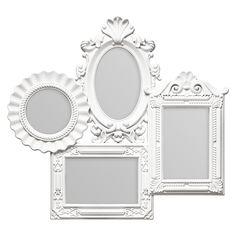 "Multi Photo Frame, 4 Photo/White Plastic Frame, 2 Rectangular 4 x 6"" / 1 Oval 4 x 6"" / 1 Round Ø4"""
