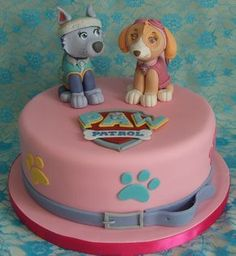 Everest and Skye Paw Patrol Cake
