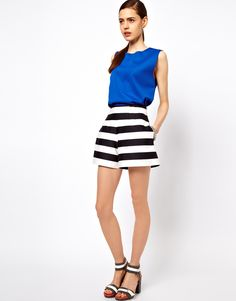 High Waisted Shorts In Bold Stripe