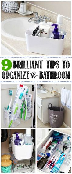 Quick and easy ideas to organize the bathroom. Love these!