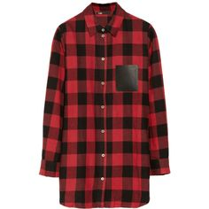 Maje Degriffe oversized plaid cotton shirt (500 BRL) ❤ liked on Polyvore featuring tops, blouses, shirts, dresses, long sleeves, plaid blouse, red plaid blouse, cotton shirts, red shirt and long sleeve blouse
