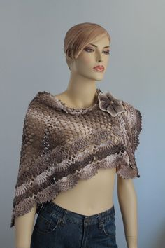 Cotton Lace Crochet Shawl  - Flower Pin - Holiday Accessories - Fall Wedding. $99.00, via Etsy.