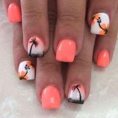 Uñas de moda nail art ideas for summer beach, acrylic summer nails beach, acrylic Beach Nail Designs, Toe Nail Designs, Nails Design, Tropical Nail Designs, Beach Themed Nails, Beach Toe Nails, Beach Nail Art, Hawaiian Nails, Palm Tree Nail Art