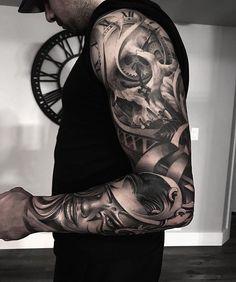 Tattoo sleeve designs, arm tats, skull tattoos, leg tattoos, body art t Arm Tats, Arm Sleeve Tattoos, Tattoos Skull, Sleeve Tattoos For Women, Tattoo Sleeve Designs, Forearm Tattoos, Tattoos For Guys, Cool Tattoos, Men Tattoo Sleeves