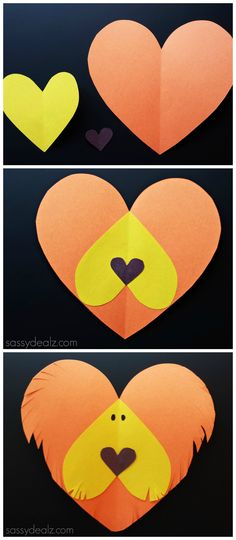 lion paper heart craft