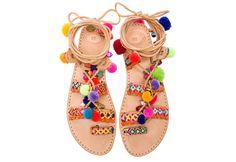 Ibiza-Pom-Pom-Sandalen von santamarguerite auf Etsy