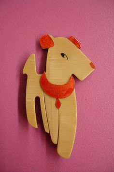 RESERVED for RL until 12th SEPT Adorable beige and red acrylic dog brooch by Lea Stein