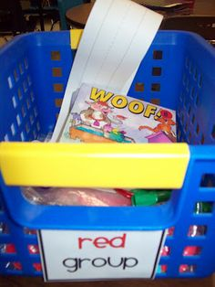 Organize and label a separate basket or bin for each small group you have. You can place the readers and  materials you need for your lesson in the basket so that everything is right at your fingertips when you are ready to start.