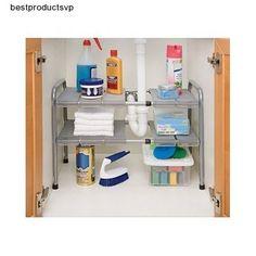 #Ebay #Under-the-Sink #Shelf #2 #Tier #Expandable #Silver #Two #Organizer #Kitchen #Bath #Storage