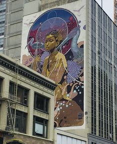 Mural on side of building, downtown Oakland, CA