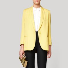 I'd love to have a pale yellow blazer in my closet.