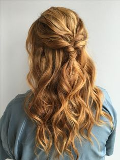 Pretty Half Up Down Hairstyle Partial Updo Wedding