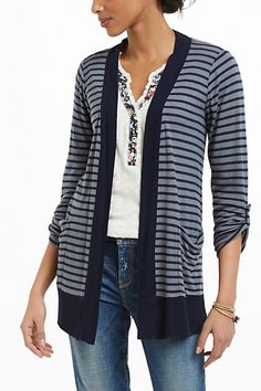 Wide-Ruled Cardigan #anthropologie Really cute and comfortable!