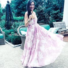 Wedding guest flowy maxi dress - halston heritage @renttherunway summer wedding outfit idea