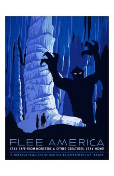 Flee America, Digital Print, WPA poster, cave painting, WPA art, National Park, monster art, geekery, alternate histories, see america