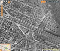 Bairro da Lapa em 1958 - O edifício triangular ao centro da foto é o Mercado da Lapa, bem ao lado da linha do trem - Obs.: O Viaduto da Lapa ainda estava em construção e a travessia era feita através de um porteira com sinaleira avisando a chegada do trem.