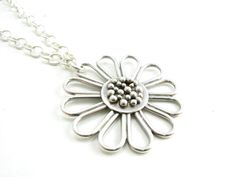 Sterling Silver Handmade Daisy Pendant by BooBeads