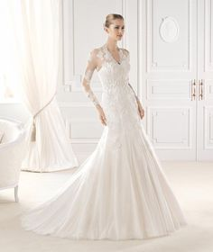 V Neck Illusion Long Sleeved A-line lace Appliqued Organza Wedding Dress