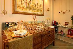 Mesa de Natal Decoraca Barata Dourada Buffet Aparador