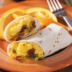 Breakfast Burritos (once cooked and assembled, these can be frozen for a quick microwave meal)