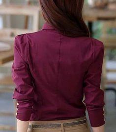 Work V Neck Long Sleeved Red Gauze Blouse