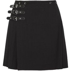 McQ Alexander McQueen - Wrap-effect Pleated Wool-blend Mini Skirt ($259) ❤ liked on Polyvore featuring skirts, mini skirts, black, short skirts, pleated skirt, short pleated skirt, wrap around skirt and pleated mini skirt